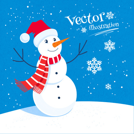 Vector illustration of snowman and snowflakes. Vector