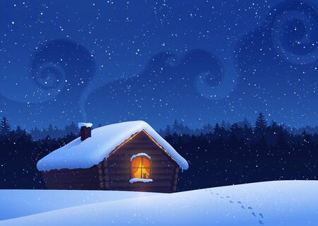 Vector illustration of winter landscape with house. Vector
