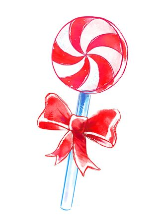 peppermint: Vector watercolor sketch of candy with bow. Illustration