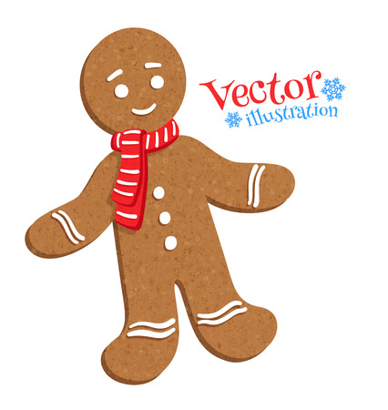 Vector illustration of gingerbread man. Illustration