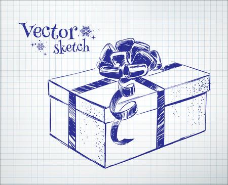 scarpbook: Gift box drawn on checkered paper.