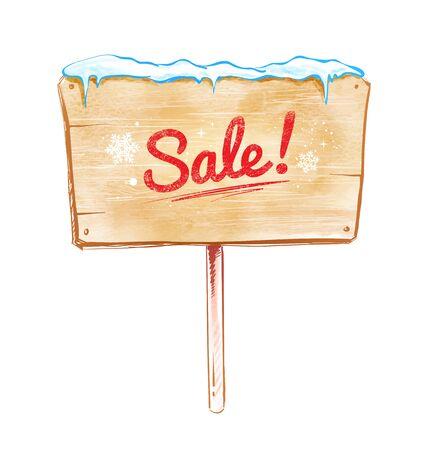 sale sign: Vector watercolor illustration of sale sign. Illustration