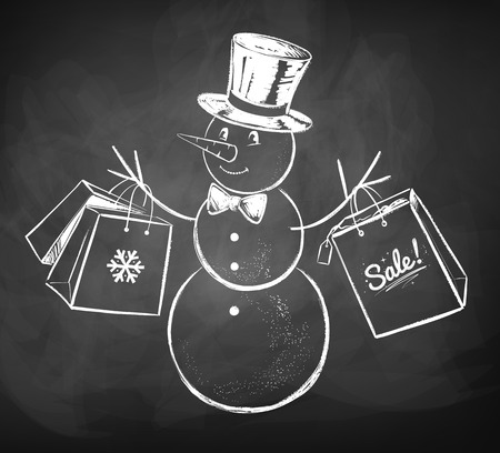 give away shop: Chalkboard drawing of snowman with shopping bags.
