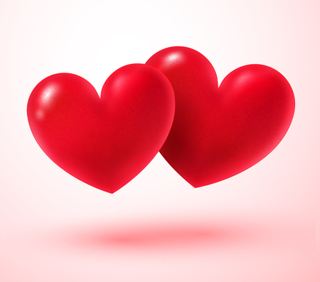 ruby: Vector illustration of two Valentine hearts. Illustration