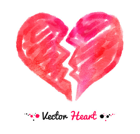 color separation: Vector watercolor illustration of broken heart. Illustration