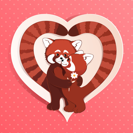 Two red pandas hug each other. Vector