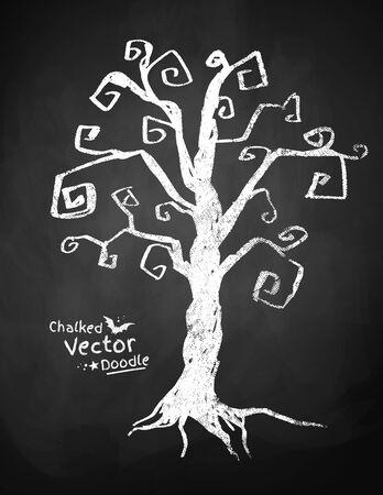 spooky tree: Chalkboard drawing of spooky tree.