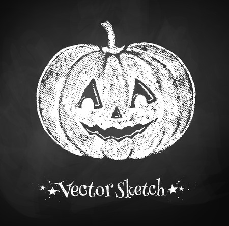 Chalkboard drawing of Halloween pumpkin. Vector