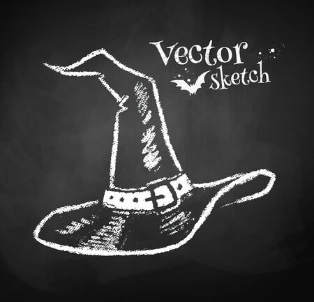 czarownica: Grunge tablica rysunek czarownic kapelusz. Ilustracja