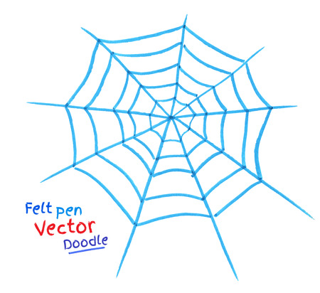 felt: Felt pen drawing of spider web.