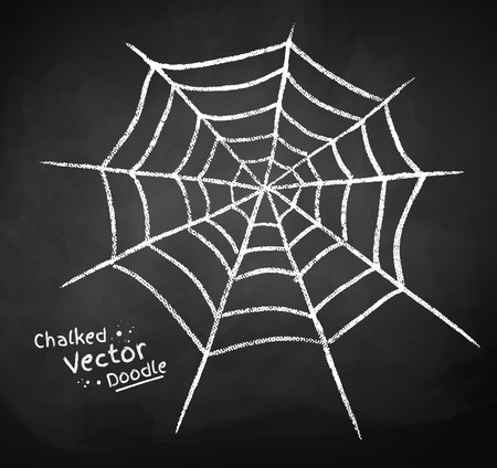 グランジの黒板がクモの巣を描きます。