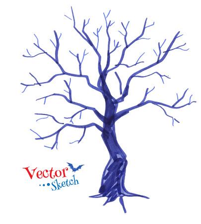 arboles secos: Pluma del fieltro dibujo infantil de �rbol fantasmag�rico.