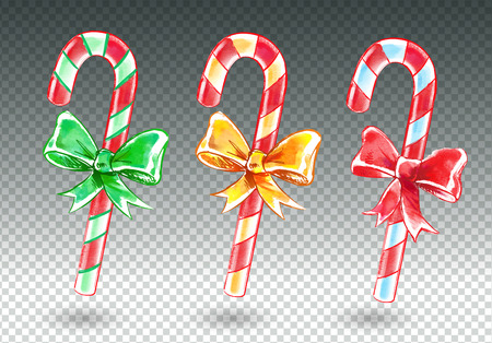 canes: Vector watercolor set of candy canes.