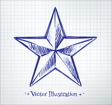 Star drawn on checkered paper. Vector