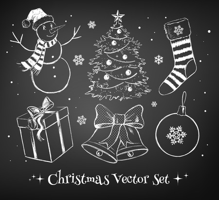 chalk outline: Chalked vector collection of Christmas design elements.