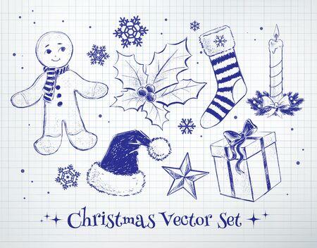 scarpbook: Sketchy vector collection of Christmas design elements.