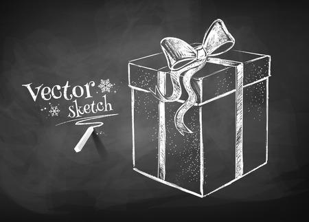 Krijtbord tekening van geschenkdoos. Stock Illustratie