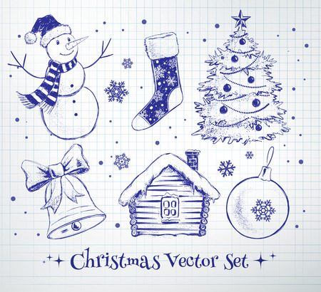 house shape: Sketchy vector collection of Christmas design elements.