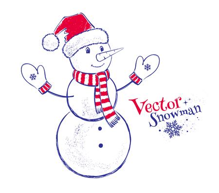 Vector illustration of cute snowman. Vector