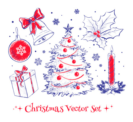 Sketchy vector collection of Christmas design elements. Vector