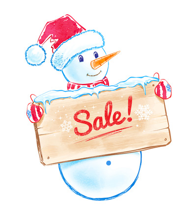 give away shop: Cute snowman with sale sign.
