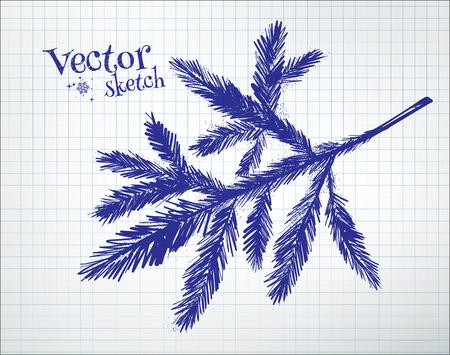 tree branch: Fir tree branch drawn on checkered paper.