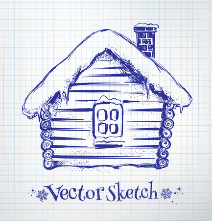 Winter house drawn on checkered school notebook paper background. Illustration
