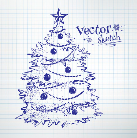 notebook paper background: Christmas tree drawn on checkered school notebook paper background.