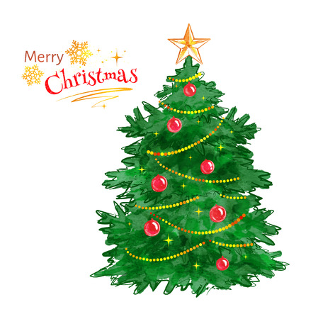 festoon: Vector watercolor illustration of Christmas tree.