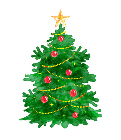 fir tree balls: Vector watercolor illustration of Christmas tree.