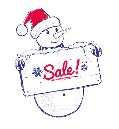 sale sign: Cute Snowman with sale sign.