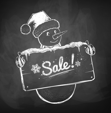 give away shop: Cute Snowman with sale sign. Hand drawn sketch.