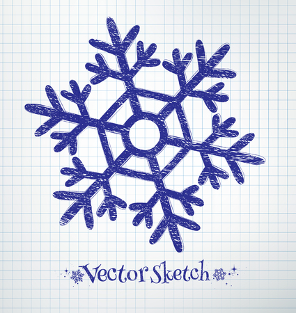 notebook paper background: Snowflake drawn on checkered school notebook paper background.