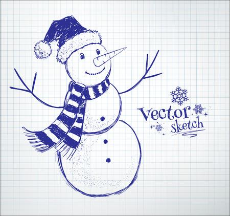 notebook paper background: Cute snowman drawn on checkered school notebook paper background. Illustration