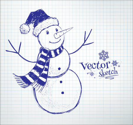 Cute snowman drawn on checkered school notebook paper background. Illustration