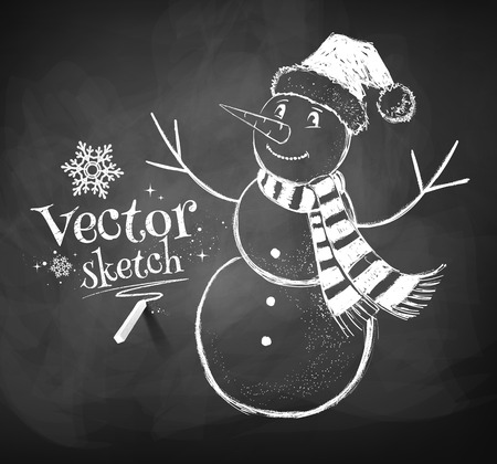 snowman isolated: Chalkboard drawing of cute snowman.
