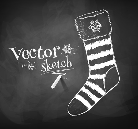 stockings: Chalkboard drawing of Christmas sock. Illustration