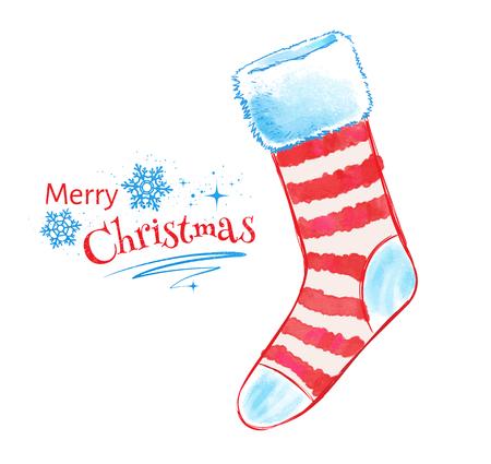 christmas sock: Vector watercolor illustration of Christmas sock.