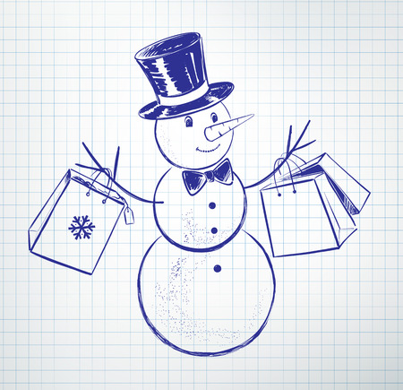 give away shop: Cute snowman with shopping bags. Illustration
