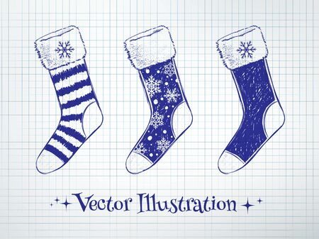 sketchy illustration: Vector sketchy illustration of Christmas socks. Illustration