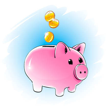 thrift: Color vector illustration of moneybox. Illustration