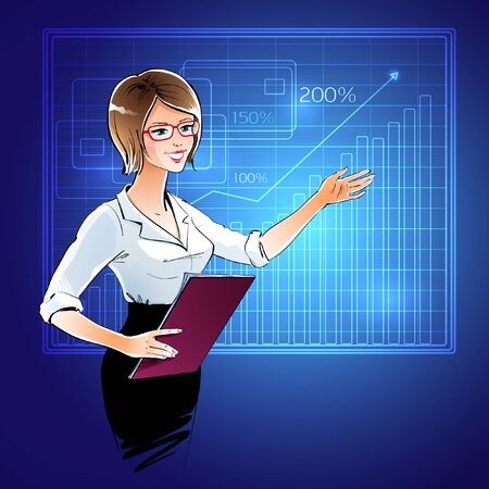 up skirt: Vector illustration of business woman at a presentation. Illustration