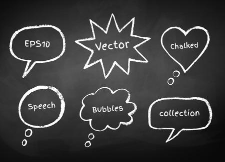 Chalked bubble-talks drawn on  school board background. Vector