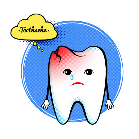 aching: Vector illustration of cute aching tooth character.
