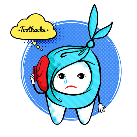 bad hygiene: Vector illustration of cute aching tooth character.