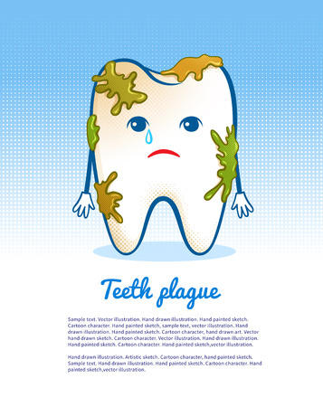 mouth pain: Vector illustration of cute aching tooth character.