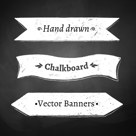 chalk board background: Chalkboard drawing of ribbon banners.