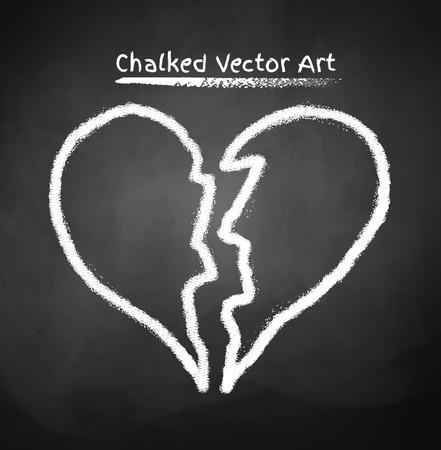 Vector illustration of chalked broken heart. Illustration