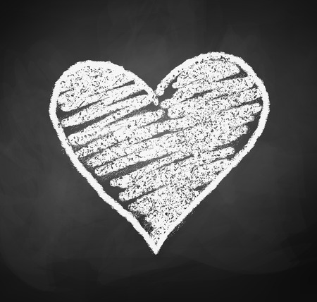 black grunge background: Vector illustration of chalkboard drawing of heart. Illustration