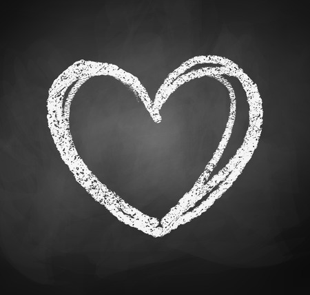 Vector illustration of chalkboard drawing of heart. 向量圖像